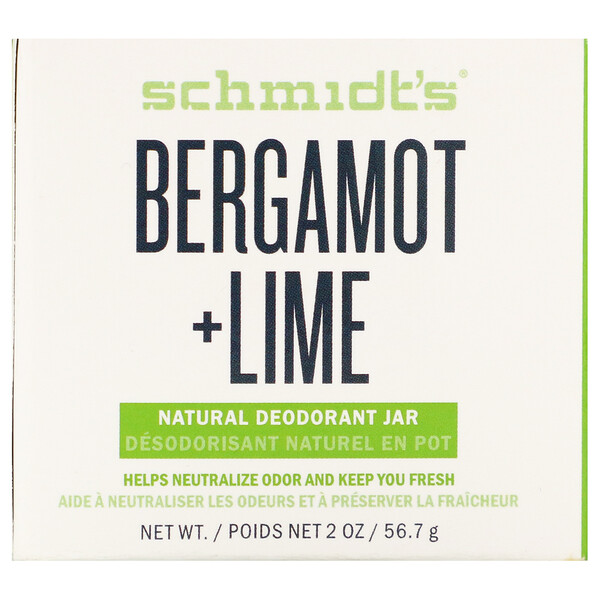 Natural Deodorant Jar, Bergamot + Lime, 2 oz (56.7 g)