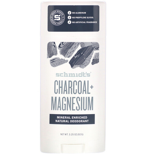 Natural Deodorant, Charcoal + Magnesium, 3.25 oz (92 g)