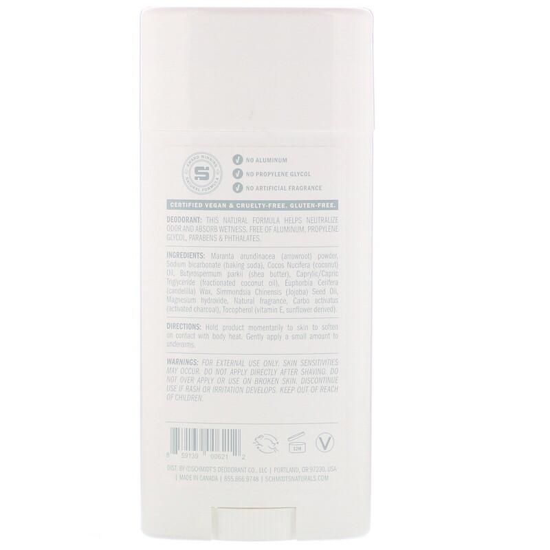 Schmidt's Naturals, Natural Deodorant, Charcoal + Magnesium, 3.25 oz (92 g) - photo 1