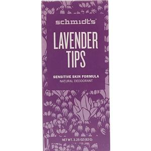 Schmidt's, Natural Deodorant, Sensitive Skin Formula, Lavender Tips, 3.25 oz (92 g) отзывы