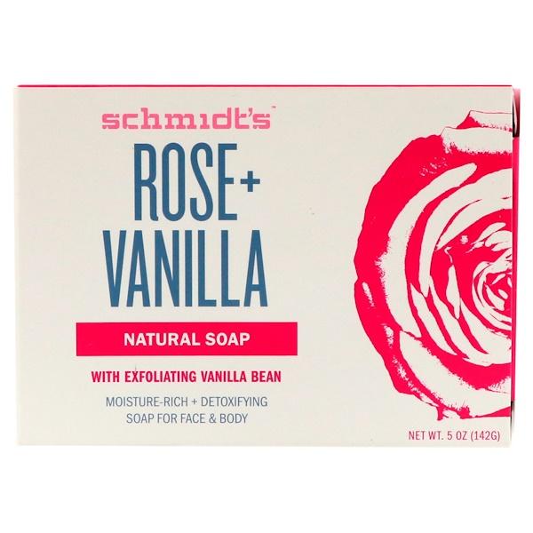 Schmidt's Natural Deodorant, Natural Soap, Rose + Vanilla, 5 oz (142 g)