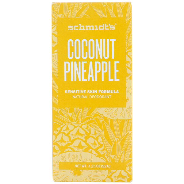 Schmidt's Naturals, Natural Deodorant, Sensitive Skin Formula, Coconut Pineapple, 3.25 oz (92 g)