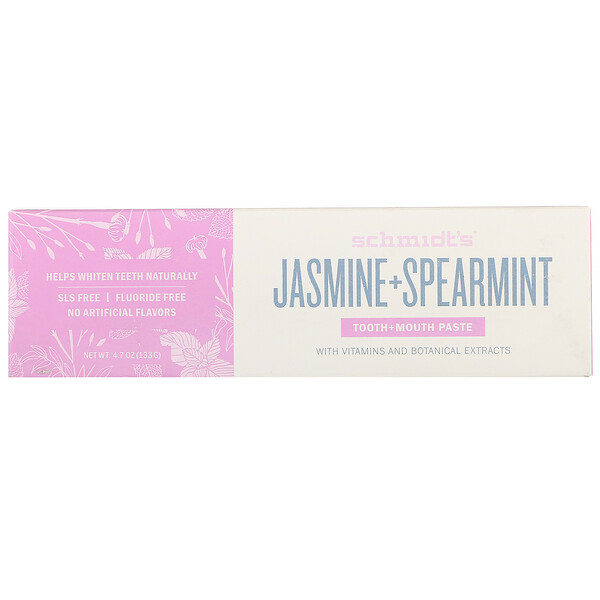 Schmidt's Naturals, Tooth + Mouth Paste, Jasmine + Spearmint, 4.7 oz (133 g)