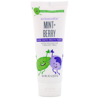 Schmidt's, Kids Tooth + Mouth Paste, Mint + Berry, 4.7 oz (133 g)