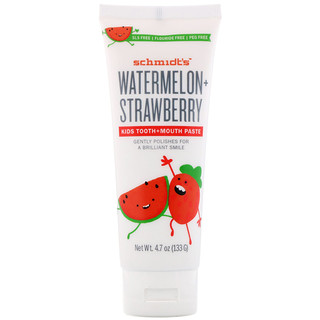 Schmidt's, Kids Tooth + Mouth Paste, Watermelon + Strawberry, 4.7 oz (133 g)