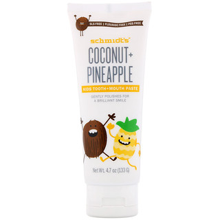 Schmidt's, Kids Tooth + Mouth Paste, Coconut + Pineapple, 4.7 oz (133 g)