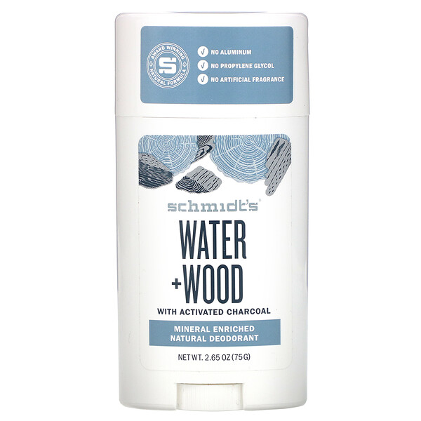 Schmidt's Naturals, Natural Deodorant, Water + Wood with Charcoal, 2.65 oz (75 g)