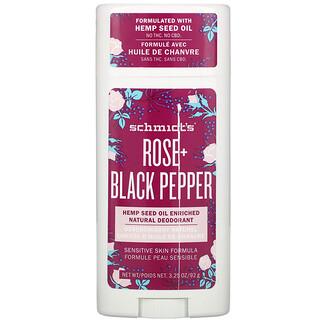 Schmidt's, Natural Deodorant, Sensitive Skin Formula, Rose + Black Pepper, 3.25 oz (92 g)