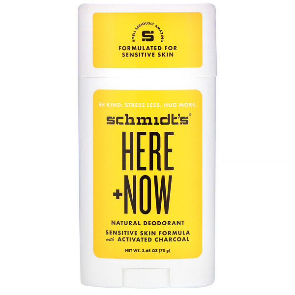 Schmidt's Naturals, Natural Deodorant, Sensitive Skin Formula with Activated Charcoal, Here + Now, 2.65 oz (75 g)