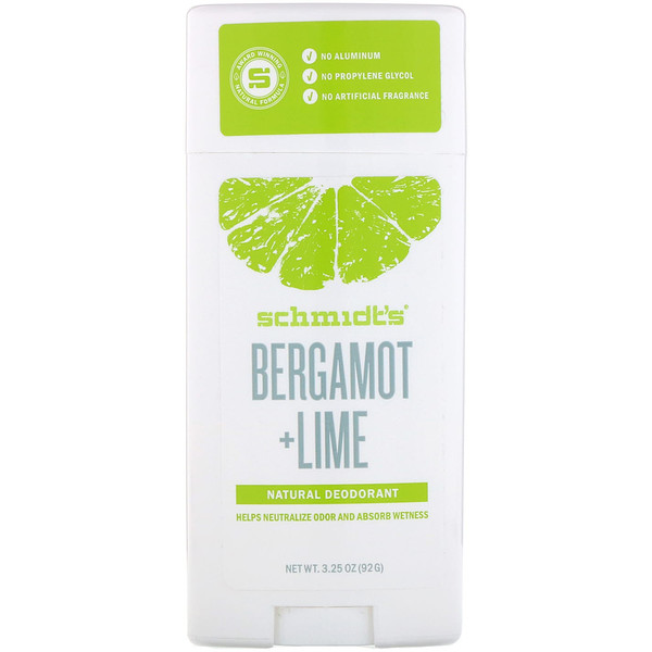 Schmidt's, Natural Deodorant, Bergamot + Lime, 3.25 oz (92 g) (Discontinued Item)
