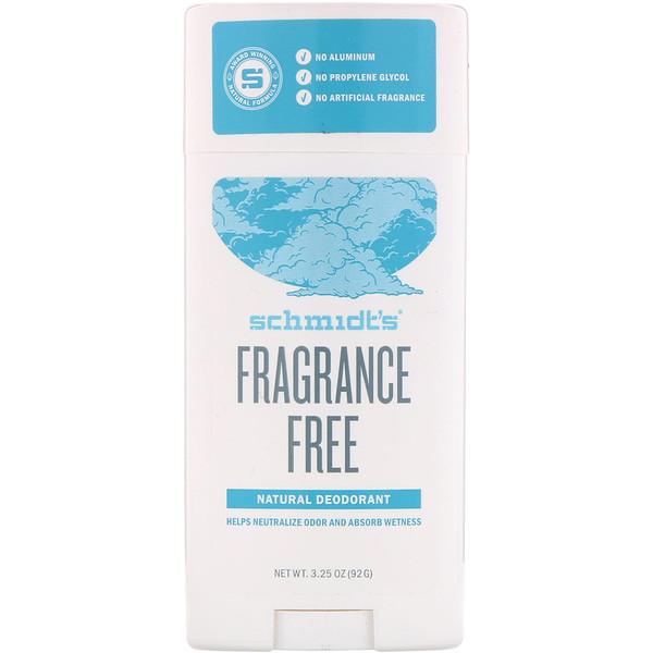Schmidt's Naturals, Natural Deodorant, Fragrance-Free, 3.25 oz (92 g) (Discontinued Item)