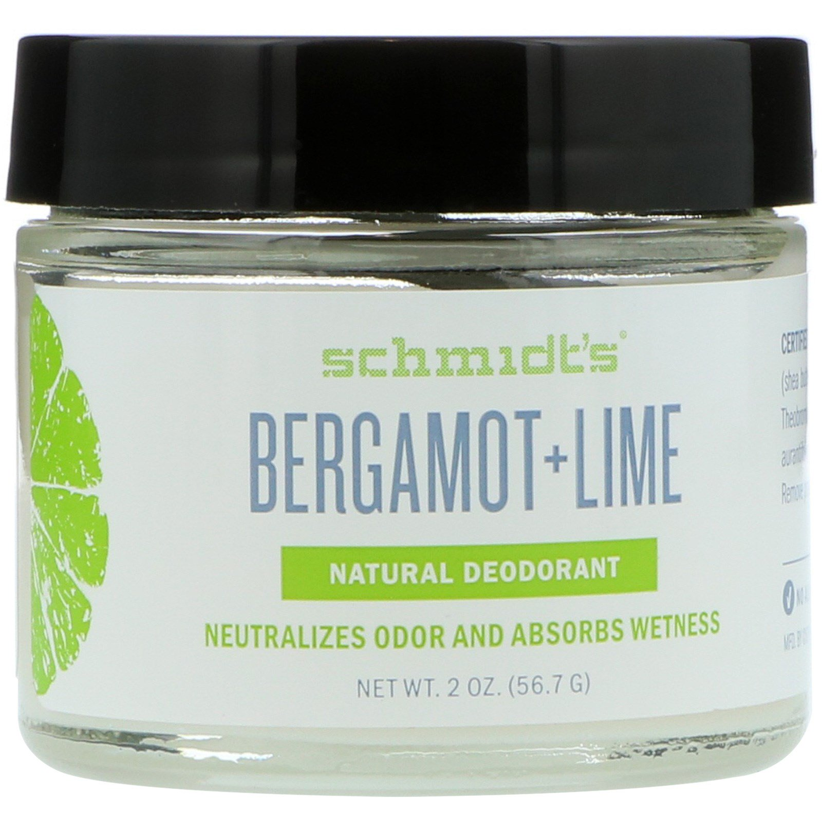 Schmidt's Natural Deodorant, Бергамот + лайм, 2 унц. (56.7 г)