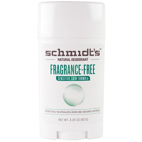 Schmidt's Natural Deodorant, Sensitive Skin Formula, Fragrance-Free, 3.25 oz (92 g)