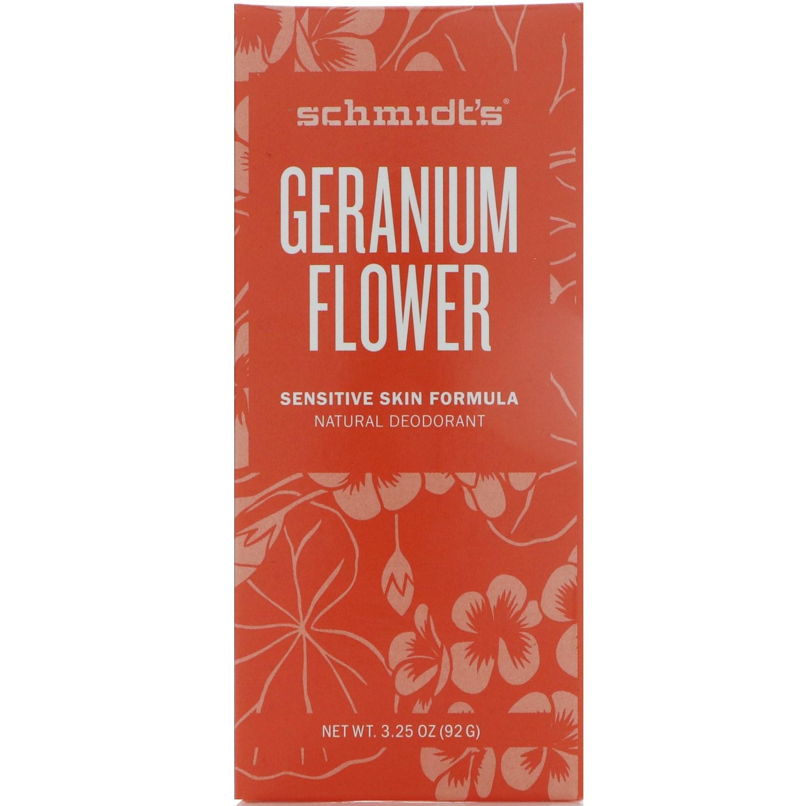 Schmidt's Natural Deodorant, Состав, подходящий чувствительной коже, герань, 3,25 унц. (92 г)