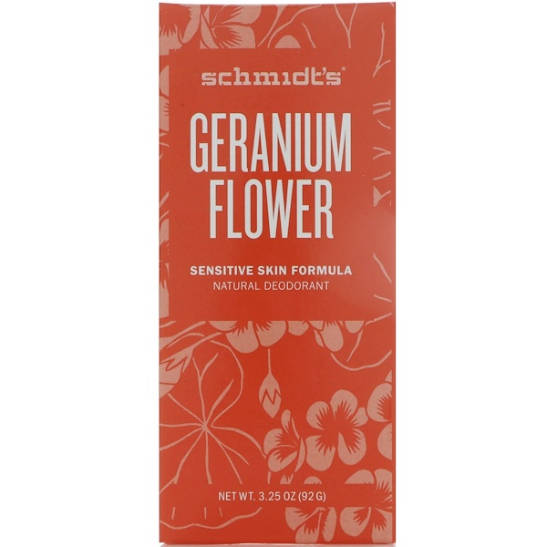 Schmidt's Naturals, Natural Deodorant, Sensitive Skin Formula, Geranium Flower, 3.25 oz (92 g) (Discontinued Item)