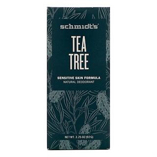 Schmidt's Natural Deodorant, Формула для чувствительной кожи, чайное дерево, 3,25 унции (92 г)