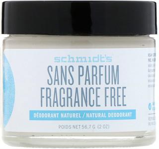 Schmidt's Naturals, Natural Deodorant, Fragrance-Free, 2 oz (56.7 g)