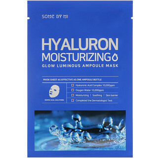 Some By Mi, Glow Luminous Ampoule Beauty Mask, Hyaluron Moisturizing, 10 Sheets, 25 g Each