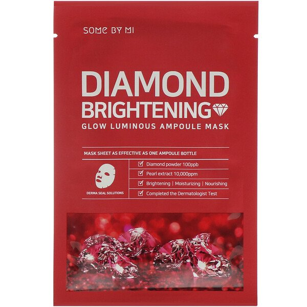 Some By Mi, Glow Luminous Ampoule Beauty Mask, Diamond Brightening, 10 Sheets, 25 Each