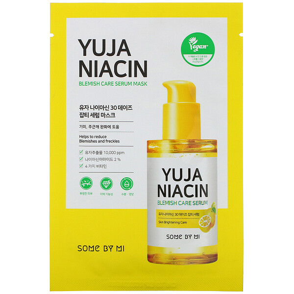Some By Mi, Yuja Niacin, Blemish Care Serum Mask, 1 Sheet (Discontinued Item)
