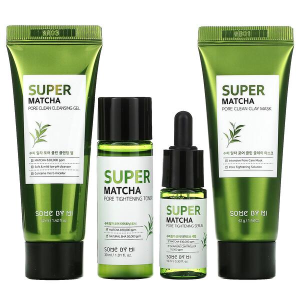 Some By Mi, Super Matcha Pore Care Starter Kit, Edition, 4 Piece Set