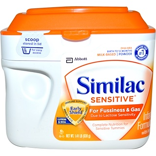 Similac, Sensitive, Infant Formula with Iron, Birth to 12 Months, 1.41 lb (638 g)