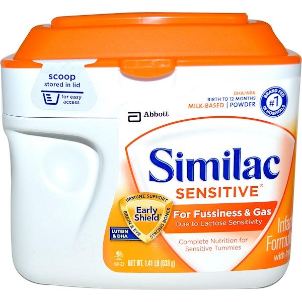 Similac, حساسة، تركيبة للأطفال مع الحديد، من الولادة حتى سن 12 شهرًا، 1.41 باوند (638 غرام)
