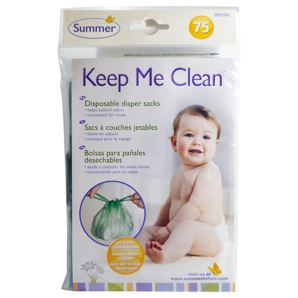 Summer Infant, Keep Me Clean, bolsas para pañales desechables, 75 unidades (Discontinued Item)