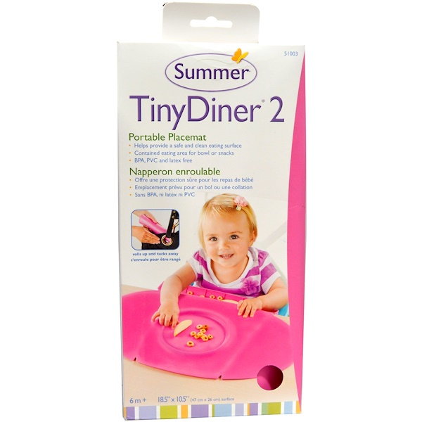 Summer Infant, Tiny Diner 2, Pink, Portable Placemat, 1 Placemat