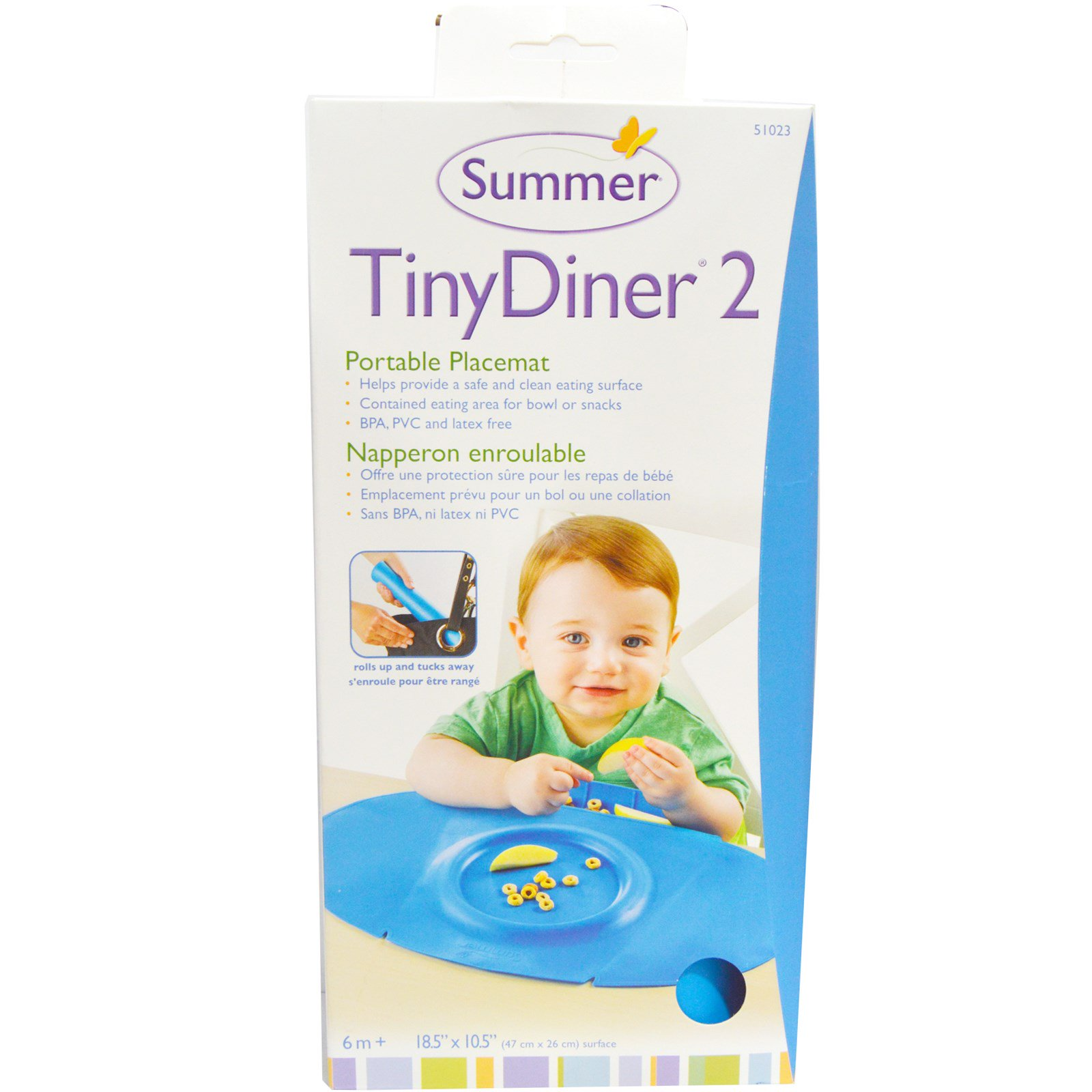 Summer Infant, Tiny Diner 2, Blue, Portable Placemat, 1 Placemat ...