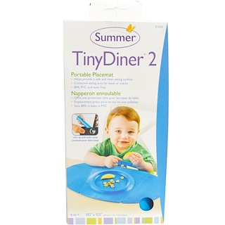 Summer Infant, Tiny Diner 2, Azul, Mantel Individual Portátil, 1 mantel individual
