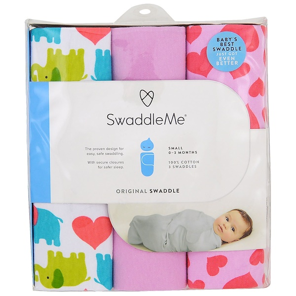 Summer Infant, Swaddle Me, Original Swaddle, Small, 0-3 Months, Elephant Hearts, 3 Swaddles (Discontinued Item)