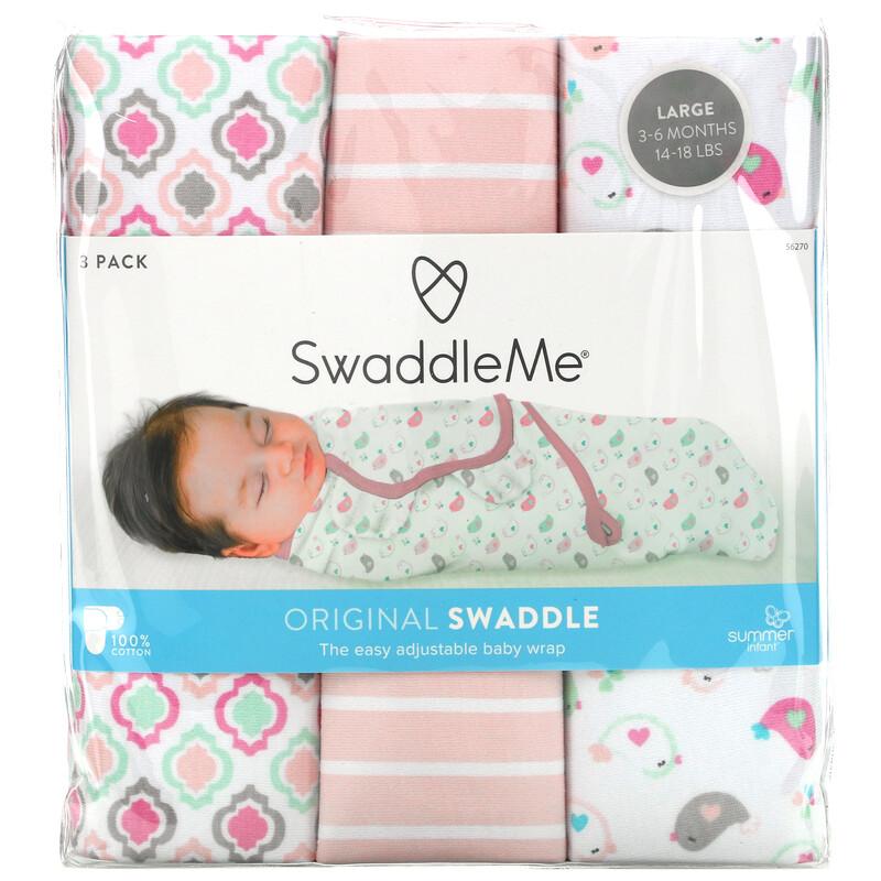 Summer Infant, SwaddleMe,原初繈褓包巾,大碼,3 件裝