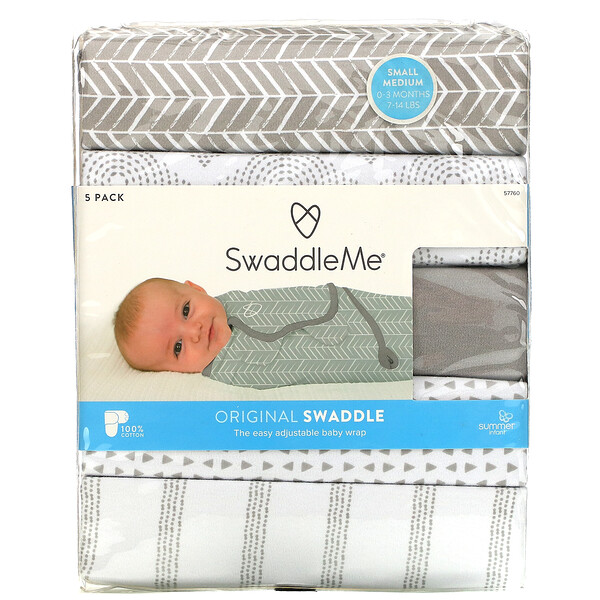Summer Infant, SwaddleMe, Original Swaddle, Small/Medium,  0-3 Months, Grey, 5 Pack
