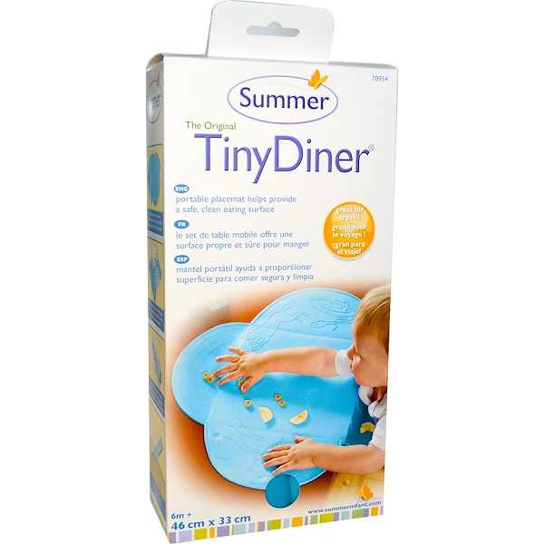 Summer Infant, The Original Tiny Diner Portable Placemat, Blue, 1 Mat (Discontinued Item)