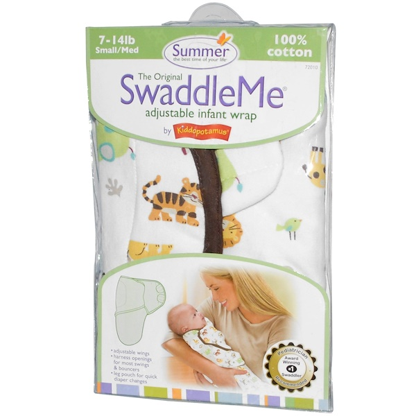 Summer Infant, SwaddleMe, Adjustable Infant Wrap, Small/Med, 7-14 lb, Jungle, White (Discontinued Item)