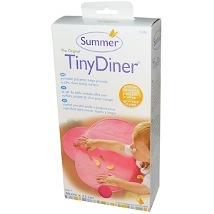 Summer Infant, Небольшой ужин, портативный поднос для еды, розовый, 1 мат