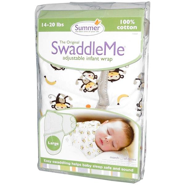 Summer Infant, SwaddleMe, Adjustable Infant Wrap, Large, 14-20 lbs, Monkeys, White (Discontinued Item)