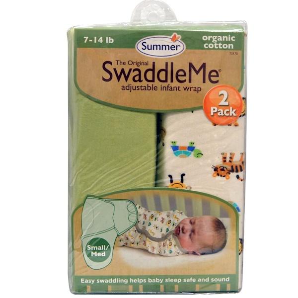 Summer Infant, The Original SwaddleMe, Adjustable Infant Wrap, Small/Med 7-14 lb, 2 Wraps (Discontinued Item)