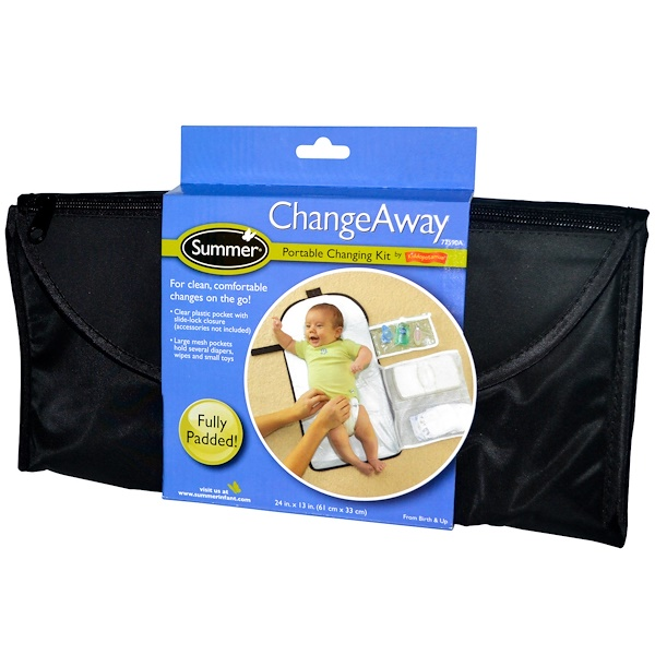 Summer Infant, Kit de Cambio Pañales Portátil ChangeAway, Recién nacido y superior, 24 in x 13 in (61 cm x 33 cm) (Discontinued Item)