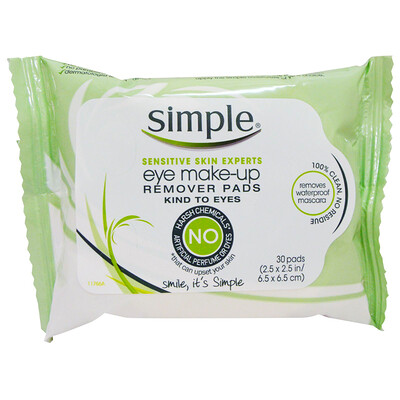 Simple Skincare Eye Make-Up Remover Pads, 30 Pads