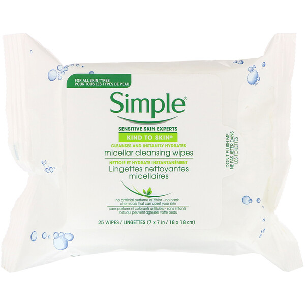Simple Skincare, Micellar Cleansing Wipes, 25 Wipes