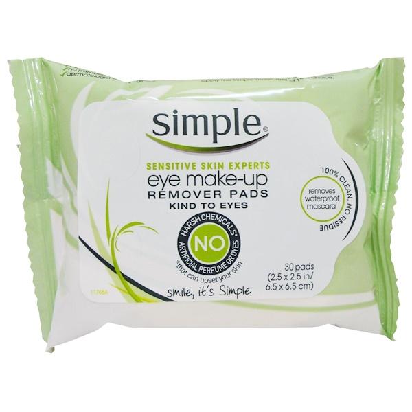 Simple Skincare, 아이 메이크업 리무버 패드, 30 패드 (Discontinued Item)