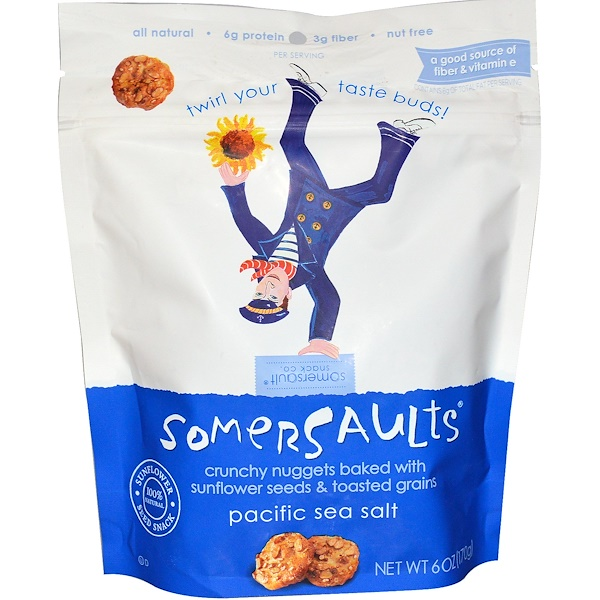 Somersaults, Sunflower Seed Snack, Pacific Sea Salt, 6 oz (170 g)