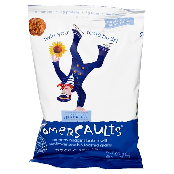 Somersaults, Sunflower Seed Snack, Pacific Sea Salt, 8 Bags, 2 oz (56 g) Each (Discontinued Item)