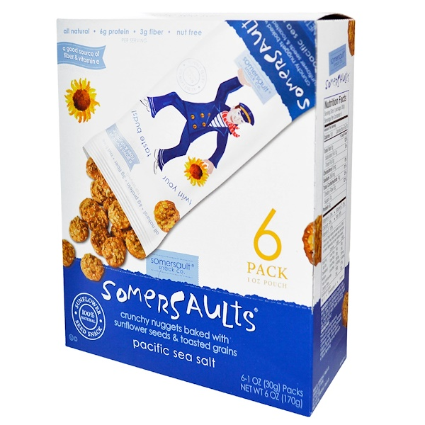 Somersaults, Sunflower Seed Snack, Pacific Sea Salt, 6 Packs, 1 oz (30 g) Each (Discontinued Item)