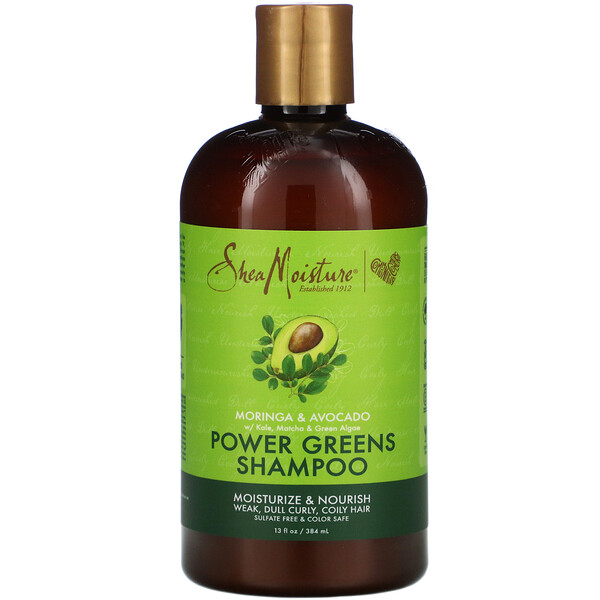 SheaMoisture, Power Greens Shampoo, Moringa & Avocado, 13 fl oz (384 ml)