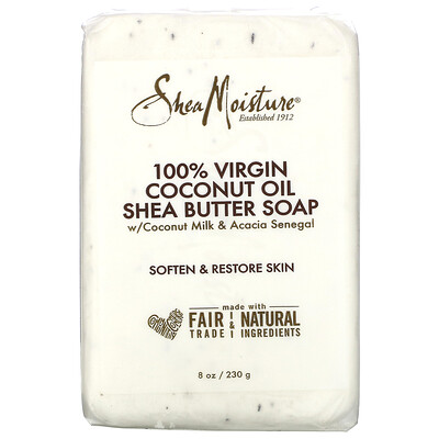 SheaMoisture 100% Virgin Coconut Oil Shea Butter Soap with Coconut Milk & Avocado Senegal, 8 oz (230 g)