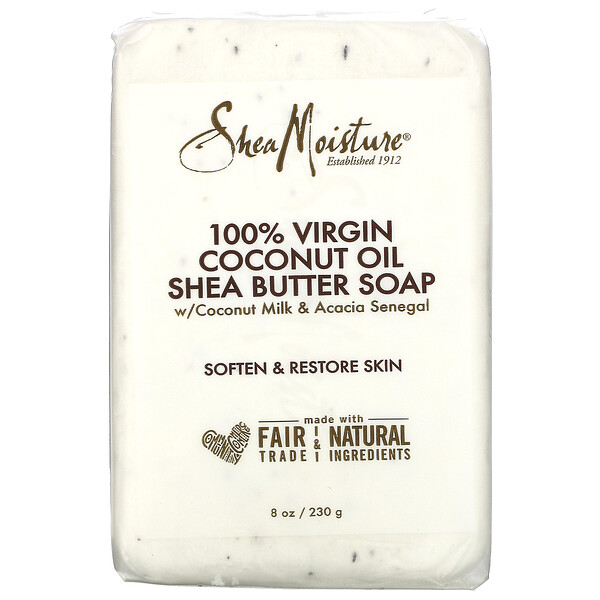 100% Virgin Coconut Oil Shea Butter Soap, 8 oz (230 g)