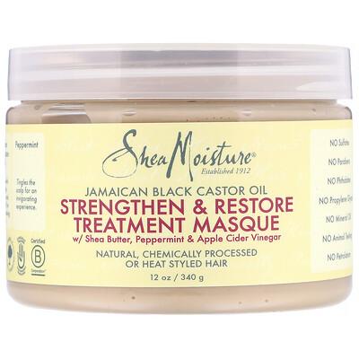 Купить SheaMoisture ямайское черное касторовое масло, укрепляющая и восстанавливающая маска, 340мл (12унции)